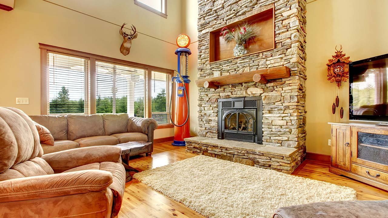 Interior of a rustic family room