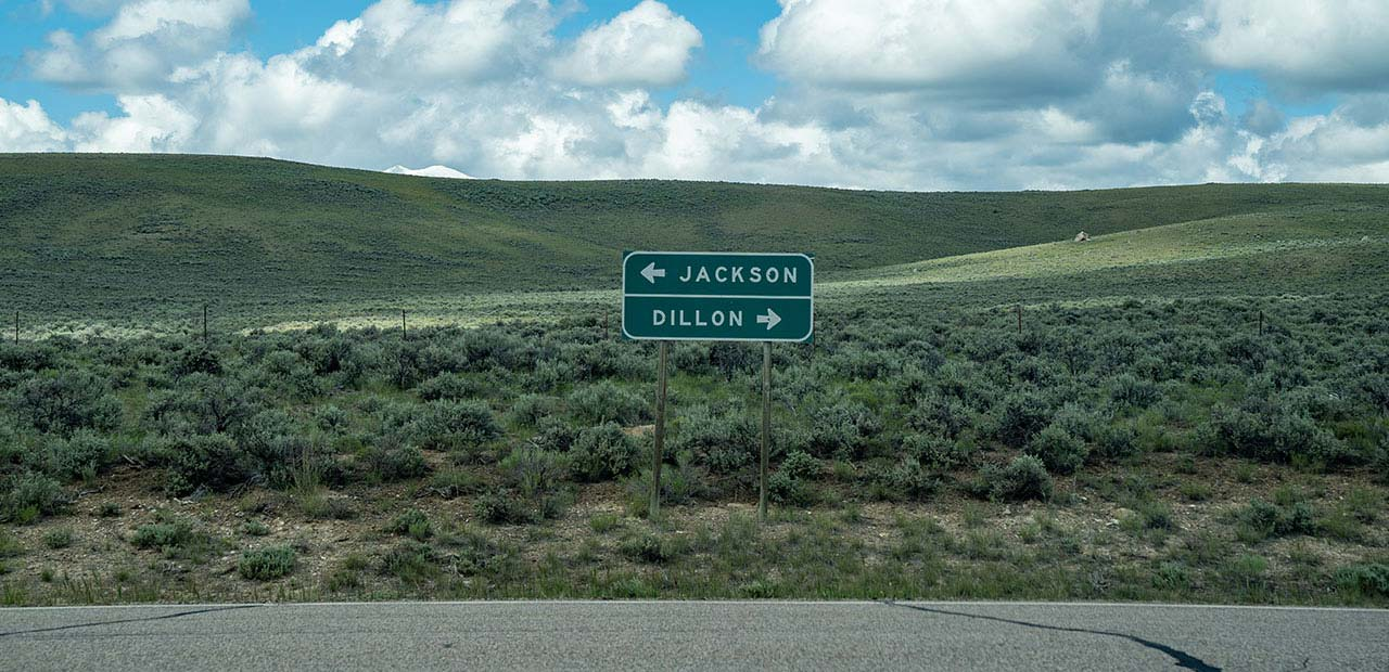 Road sign for Jackson and Dillon, MT